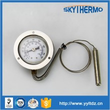 capillary bimetal remote reading thermometer bottom connection ss304 case capillary thermometer