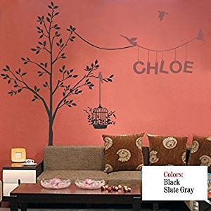 """Wall Decal Decor Nursery Wall Decals Garden Tree Wall Decal with Custom Name Decal and Birds. Name and Tree Decal for Girls and Boys Nursery(84""""h x94""""w, custom color)"""