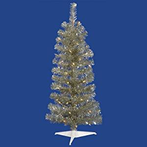 NorthLight 4.5 ft. Pre-Lit Champagne Artificial Tinsel Pencil Christmas Tree - Clear Lights