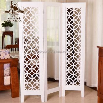 Wooden Partition room decoration wood carving folding screen partition with mirror
