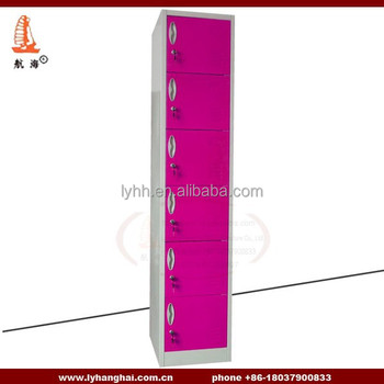 Industrial Storage Lockers 6 Door Red Public Vertical Bedroom Furniture  Personal Storage Locker