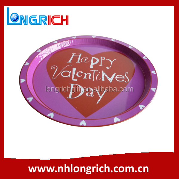 Wholesale Cheap Custom Printed Round Metal Serving Tray / Decorative Round Tray