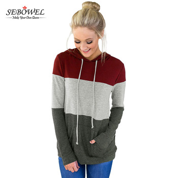 New Arrival Triple Colorblock Pullover Sweatshirt Hoodies For Women