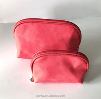 red fashion cotton fabric travel cosmetic bag for ladies