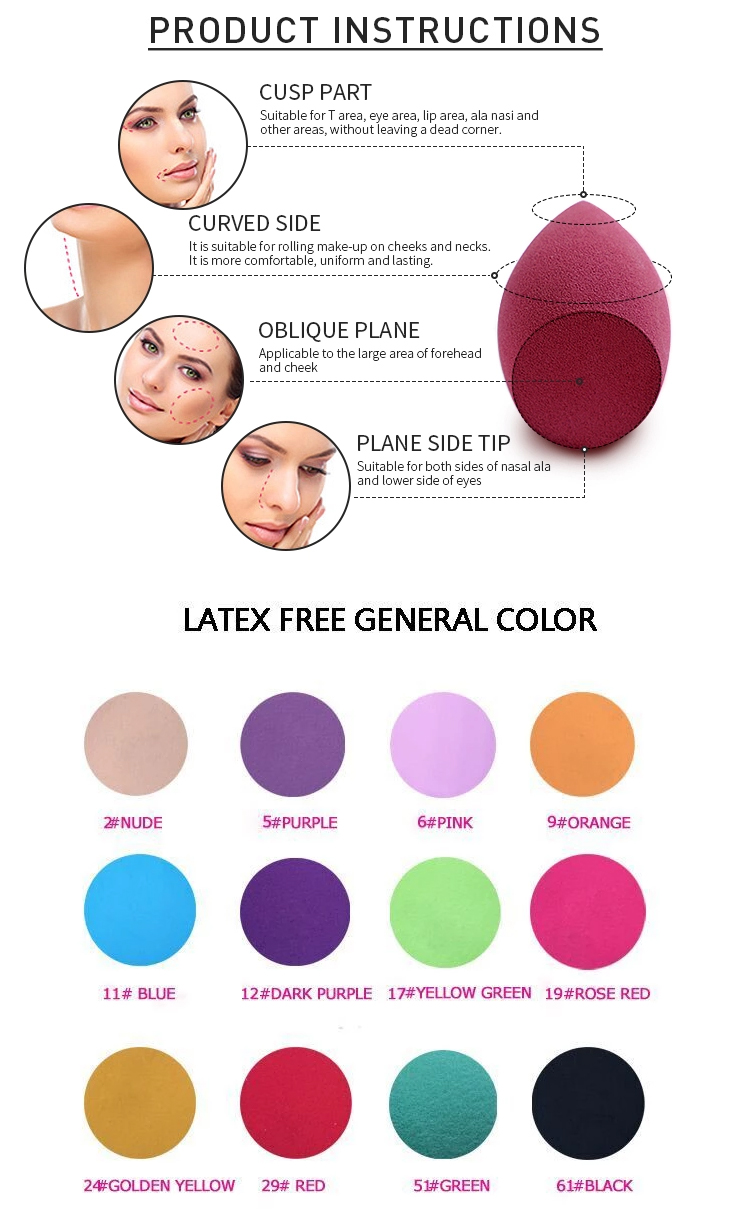 Private Label latexfreie Frauen kosmetische Schönheit Sponge Blender Makeup Foundation Glatte Reinigung Konjak Make-up Schwamm Puderquaste