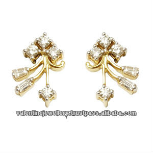14k Gold Diamond Earrings For S Baguette Earring Jewelry With Diamonds