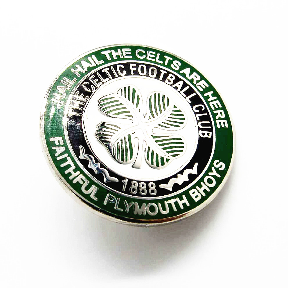 Custom metal four - leaf clover logo hard enamel football club pin badges