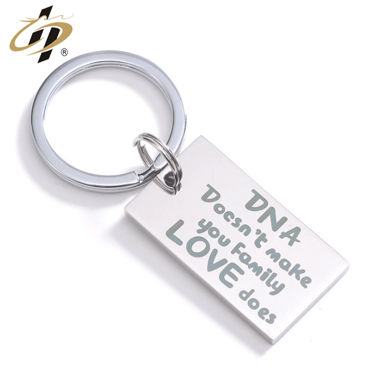 Unbeatable wholesale Cheap custom High quality stainless steel Exclusive love words logo souvenir keychain