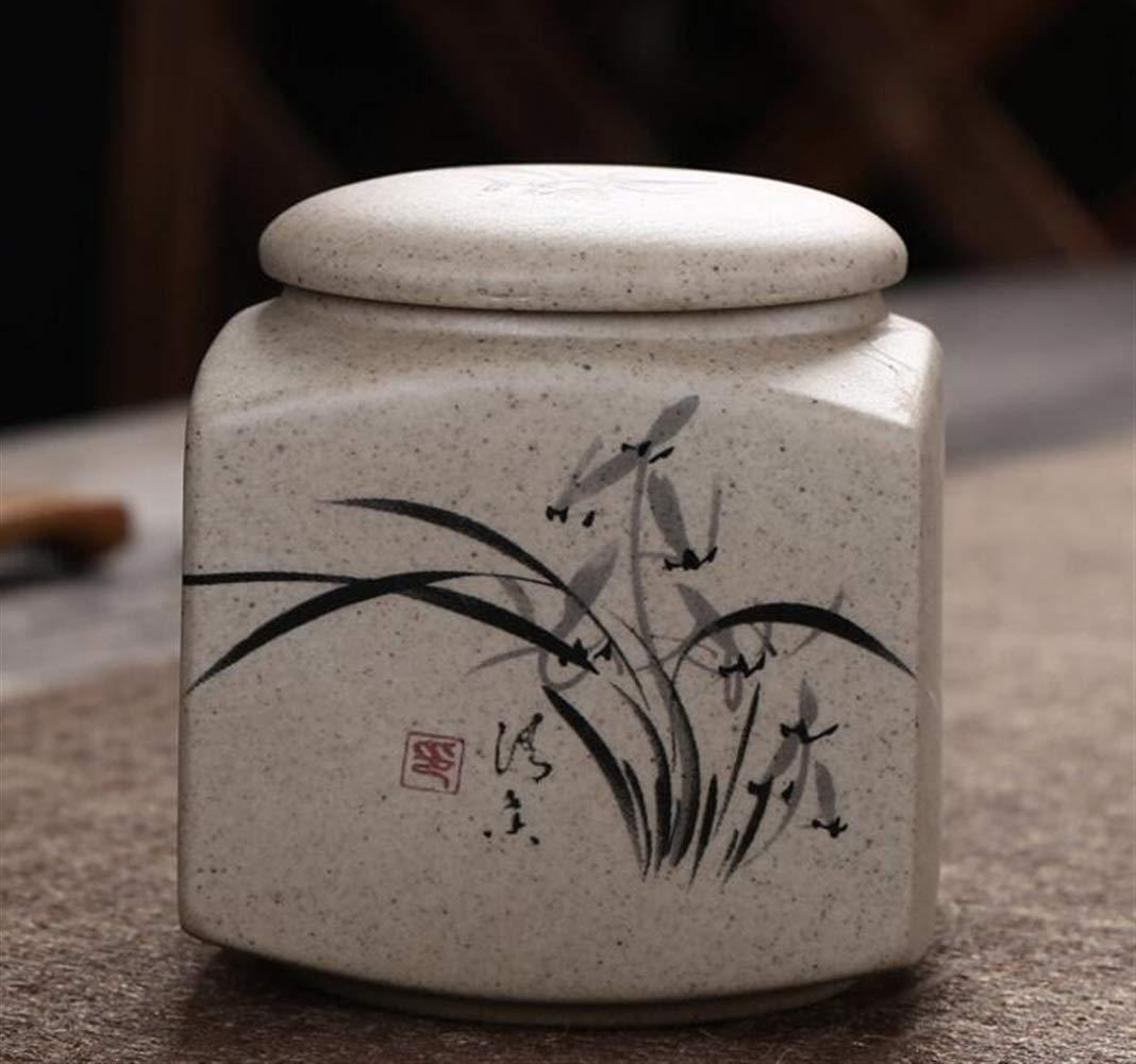 Kicthen Tool Portable Retro Ceramic Sealed Cans Small Jar Tea Cans Tea Storage(Maple leaf)