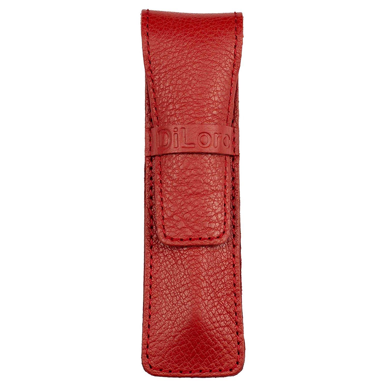 DiLoro Full Grain Top Quality Genuine Leather Single Pen Case Holder Pouch (Buffalo Venetian Red)