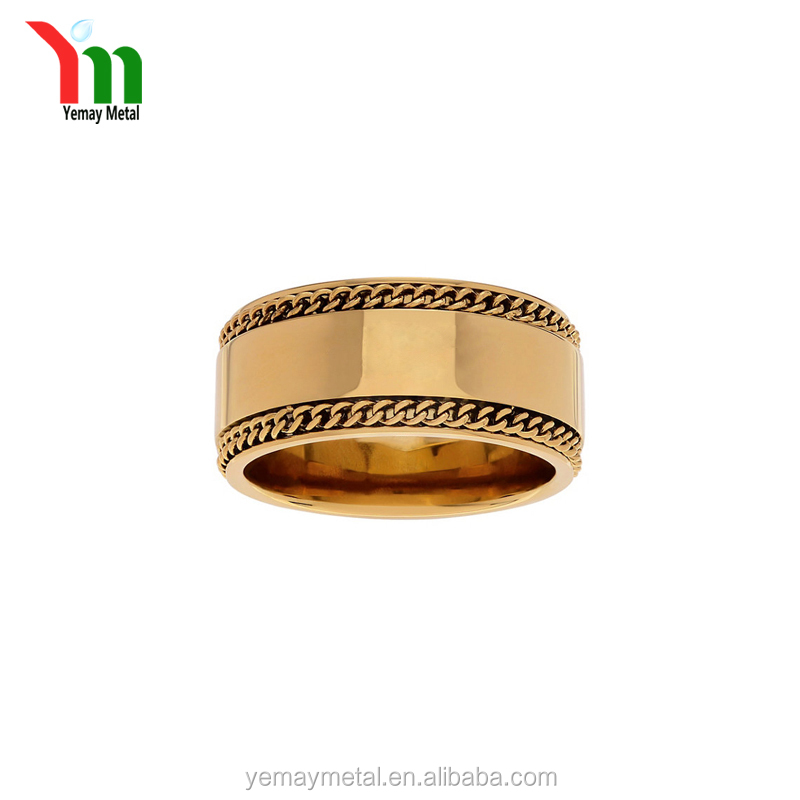 Wholesale Custom Jewelry Rose Gold Blanks Men's Rings Spikes Stainless Steel Ring