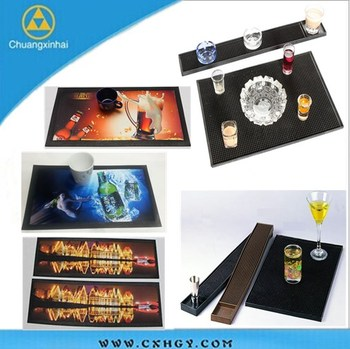 Digital printing Customize any size with 3d logo pvc bar beer drip mat