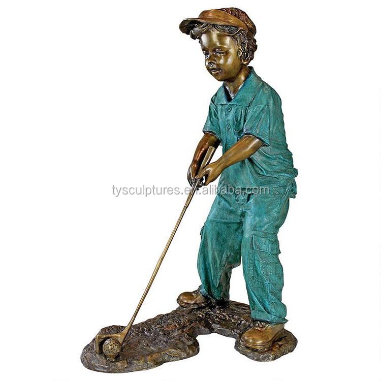 Exceptional Life Size Garden Landsacpe Decoration Sculpture Bronze Boy Playing Golf  Statue For Outdoor Park