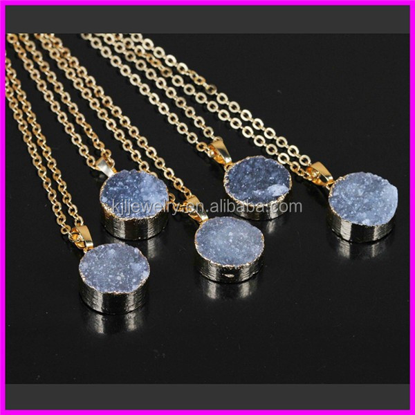 KJL-BD5444 Natural Grey Druzy Agate Beads Pendant Necklace,druzy Drusy Quartz Pendant with 24K Gold Chain