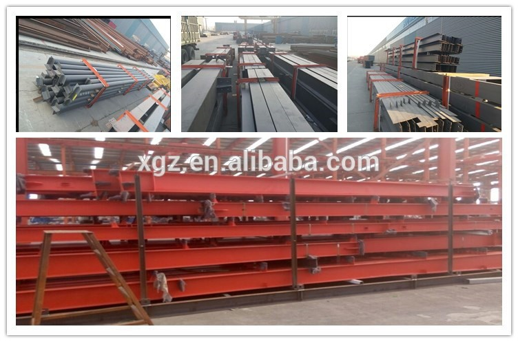 Prefabricated steel structure supermarket with glass wall
