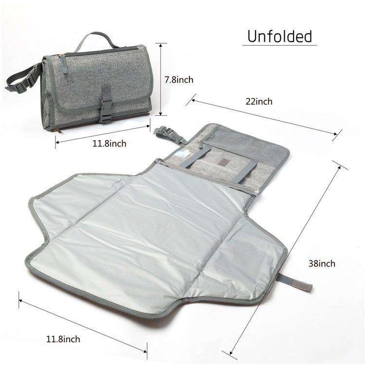 600D polyester portable baby waterproof pvc diaper changing mat