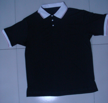 Factory direct sale 180grams black polyester cotton polo shirt contrast white collar