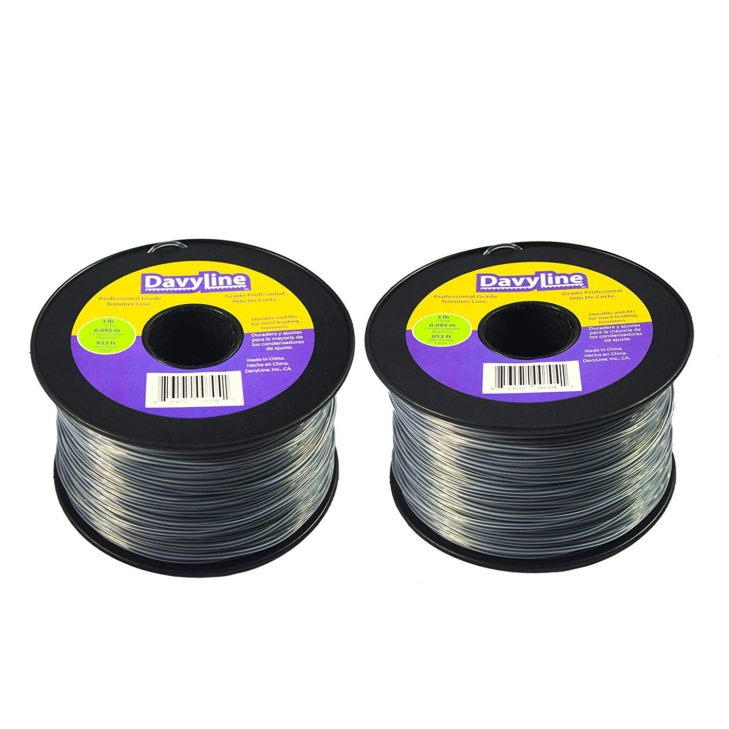 "6-Lb of DavyLine Professional Heavy Duty Round Shaped Nylon String Trimmer Line Dual Color in 2 Units of 3-lb 853 ft Each .095"" Diameter Spool"