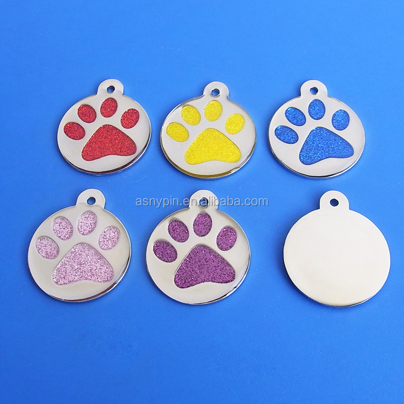 Cheap aluminium Paw shape glitter ID <strong>pet</strong> tags wholesale