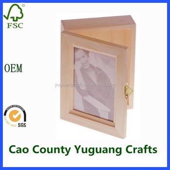 Diy Crafts Hinged Lid Wooden Box 5x7 Photo Frame Boxes Buy