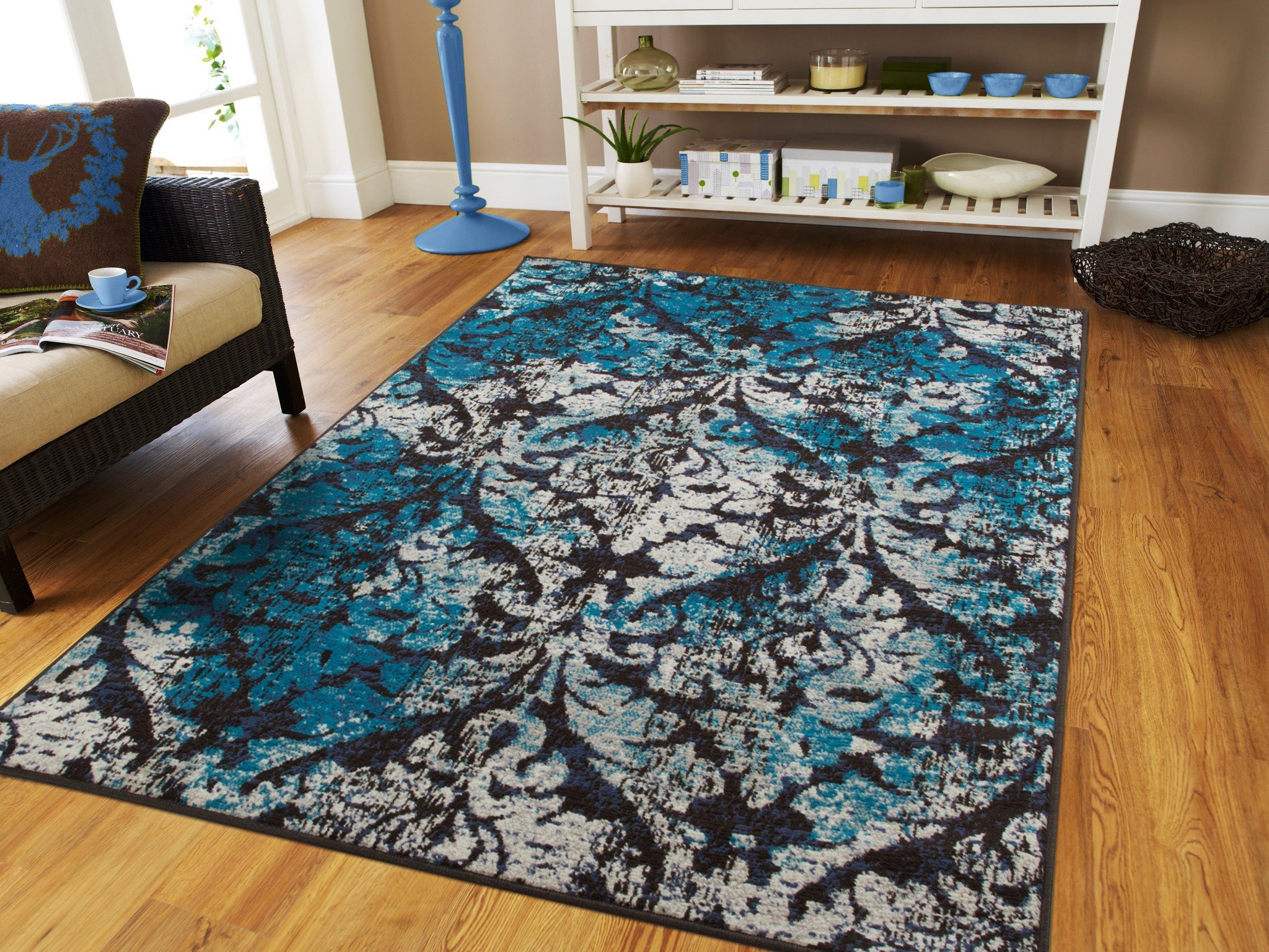 Buy Luxury Contemporary Rugs For Living Room Black Blue