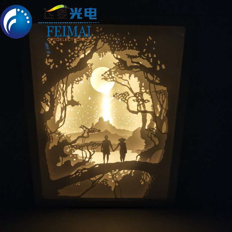 Warm White Papercut Led 3D Paper Carving Lamp Night Table Light