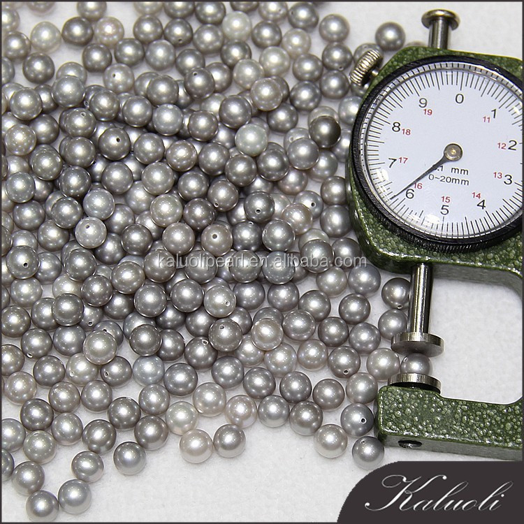 Round AAA 6MM grey cheap price of real freshwater nature half drilled loose pearl