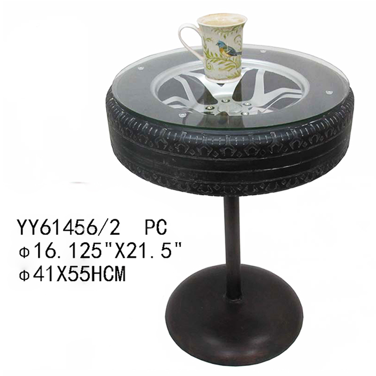 Hot sale tire theme round modern coffee table for decor