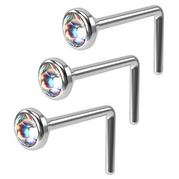 Ab Flat Cute Hoop 20 Gauge Stud Cz Nose Ring