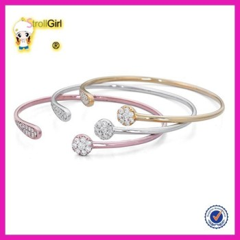 Stacking Antique Silver Bangle Set Fashion Gold Rose Plated Bracelet Sets Design For