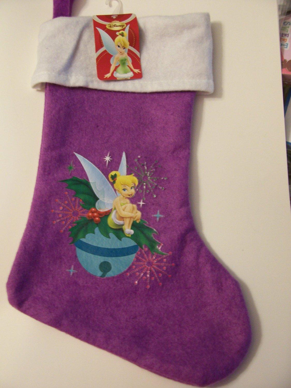 "Disney Fairies Tinkerbell Felt Christmas Stocking ~ Tinkerbell Resting on Ornament (Purple; 15.75"")"