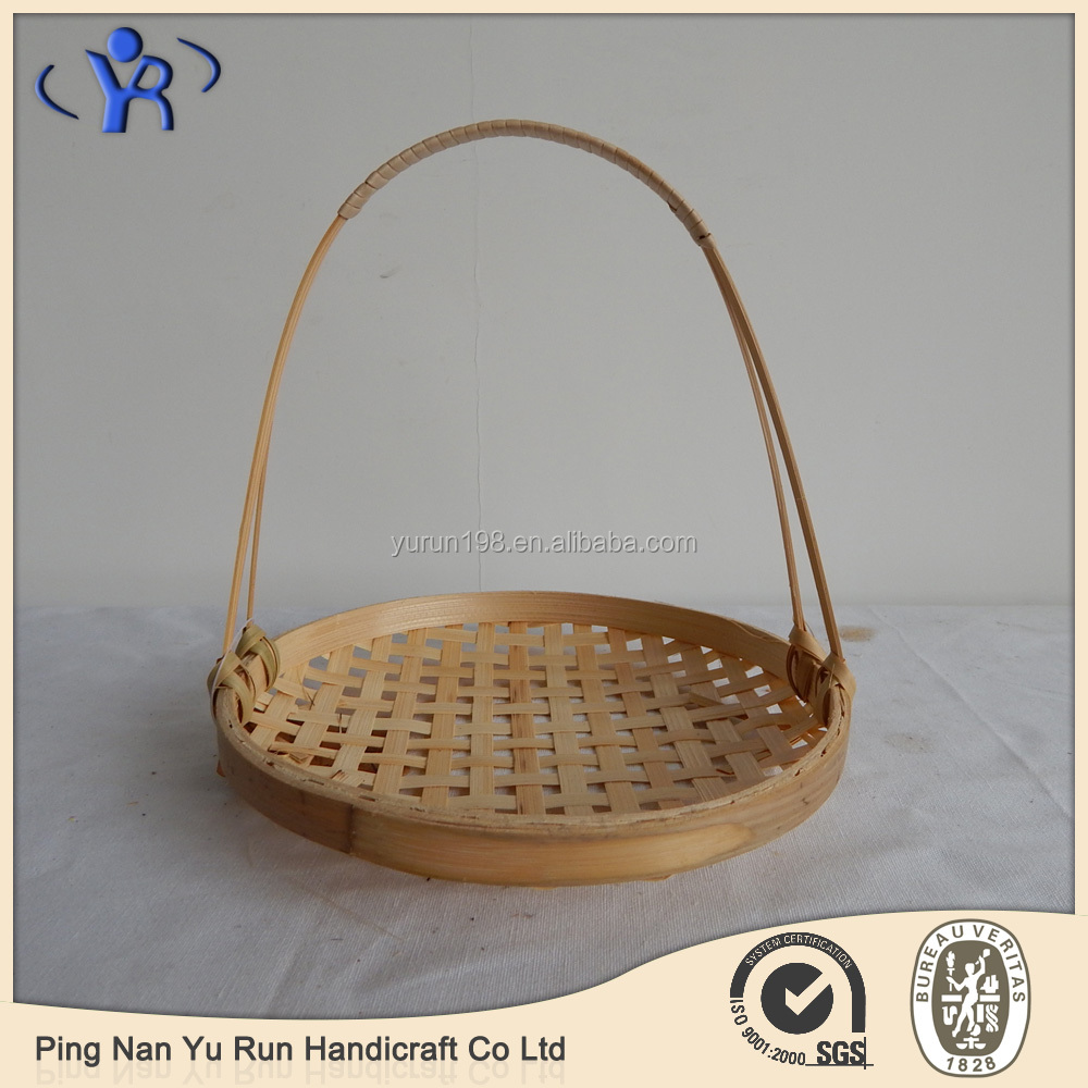 Vintage Woven Bamboo Storage Basket Tray With Hanger