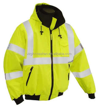 High quality latest design fluorescent high visibility waterproof cotton work winter reflective safety jacket for men women