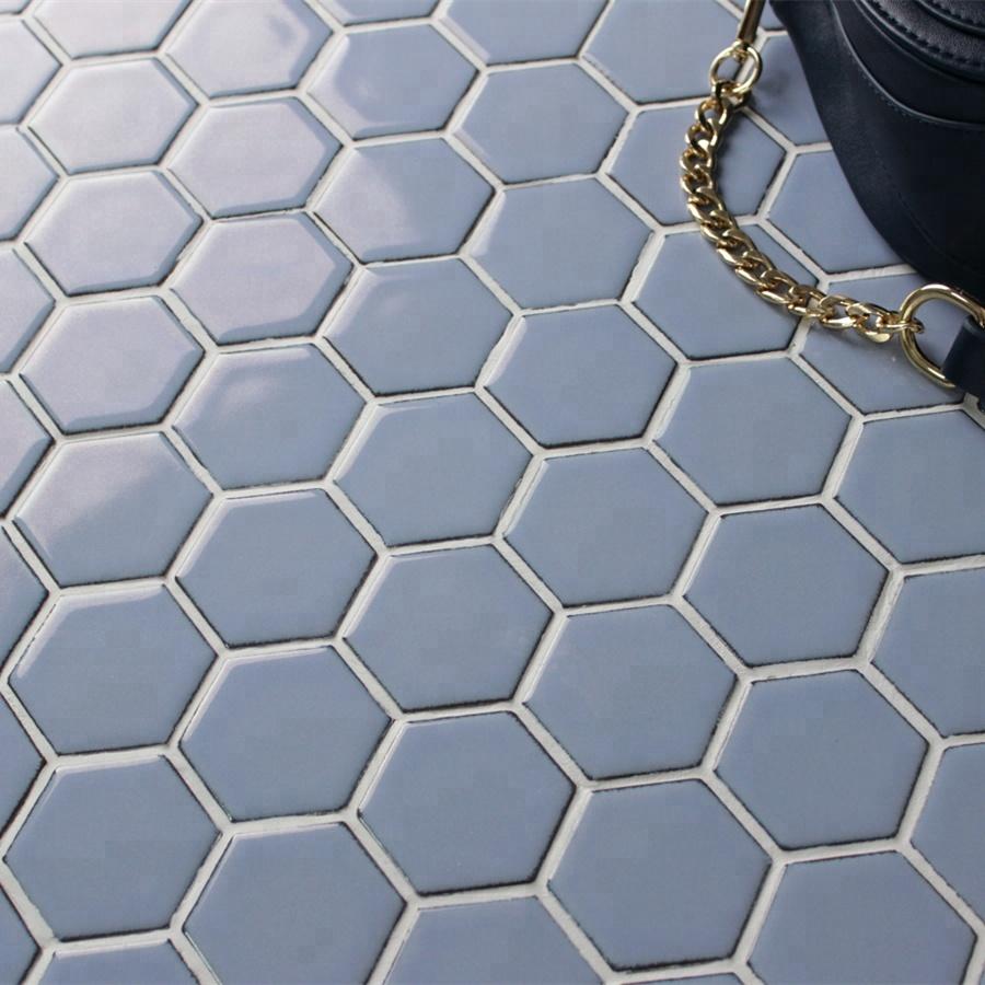 Badezimmer Designs Blau Grau Hexagonalen Kristall Glasierte Keramik  Mosaik-fliesen - Buy Glasierte Keramische Mosaik-fliesen,Kristall  Glasierten ...