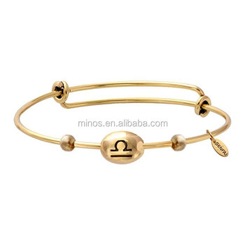 Libra Zodiac Sign Expandable Bangle Horoscope Astrology Disc Adjule Wiring Charm Simple Bracelet