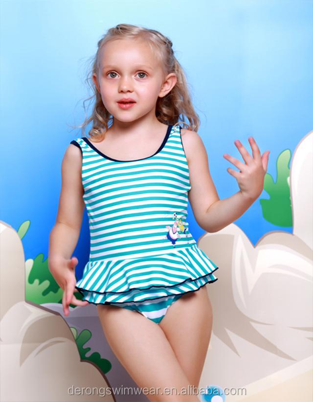 oem odm custom made cute stripe bady girl one piece swimwear with
