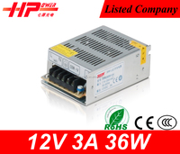 Mini size design customized serive CCTV camera switching power supply 36w 3a 12v led driver