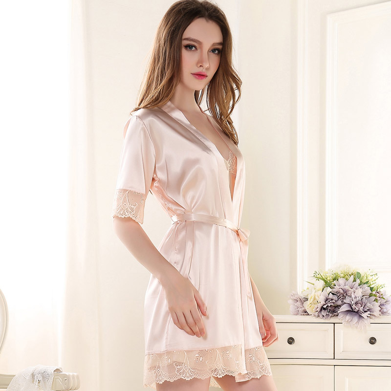 Get Quotations · Free shipping Women s summer short-sleeve robe silk  sleepwear sexy spaghetti strap lace nightgown twinset c6cccd976a25