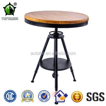 Vintage Metal Round Bar Tables,Adjustable Industrial Outdoor Table ...