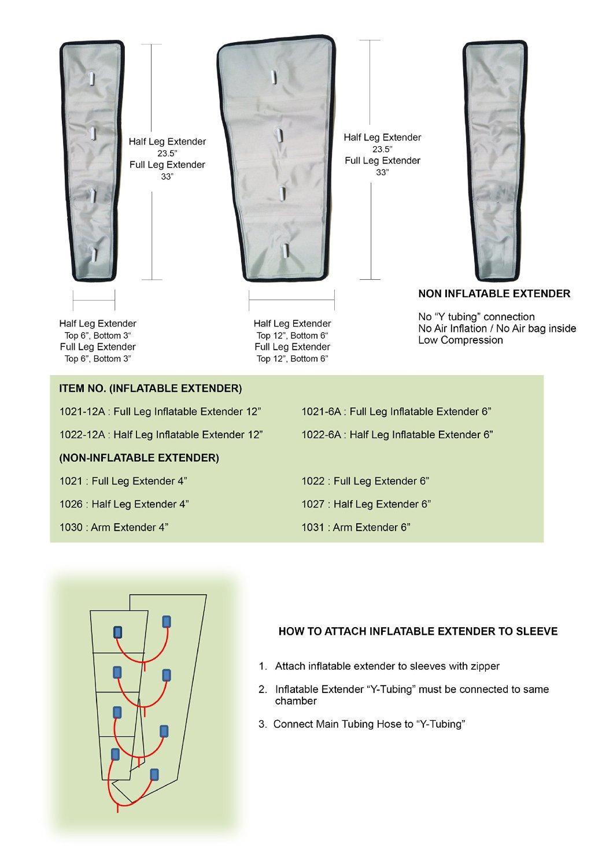 "Air Compression Garment - Full Leg, Half Leg, Arm, Waist, Extender, Hose Etc (Extender Full Leg 4"")"
