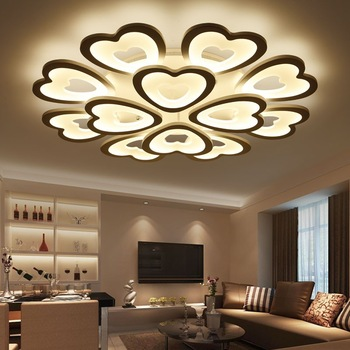 Modern Led Ceiling Lights For Living Room Bedroom Lamp Acrylic Heart Shape Lighting Home Decor Md85074