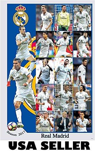 99dfb495bb5 Real Madrid 2016 - 2017 vert 15-pic collage POSTER Cristiano Ronaldo  Zinedine Zidane soccer