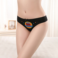 Women Funny Briefs G-string Thongs Panties Letter Printed Cotton Underwear Knickers