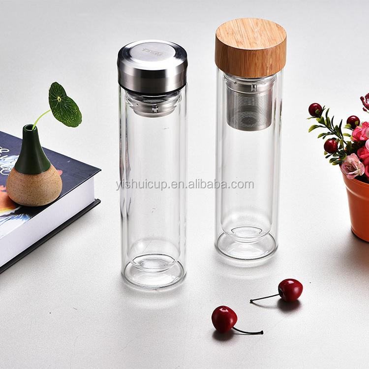 Promotion Reusable Bamboo Lid Custom Infuser Glass Water Bottle