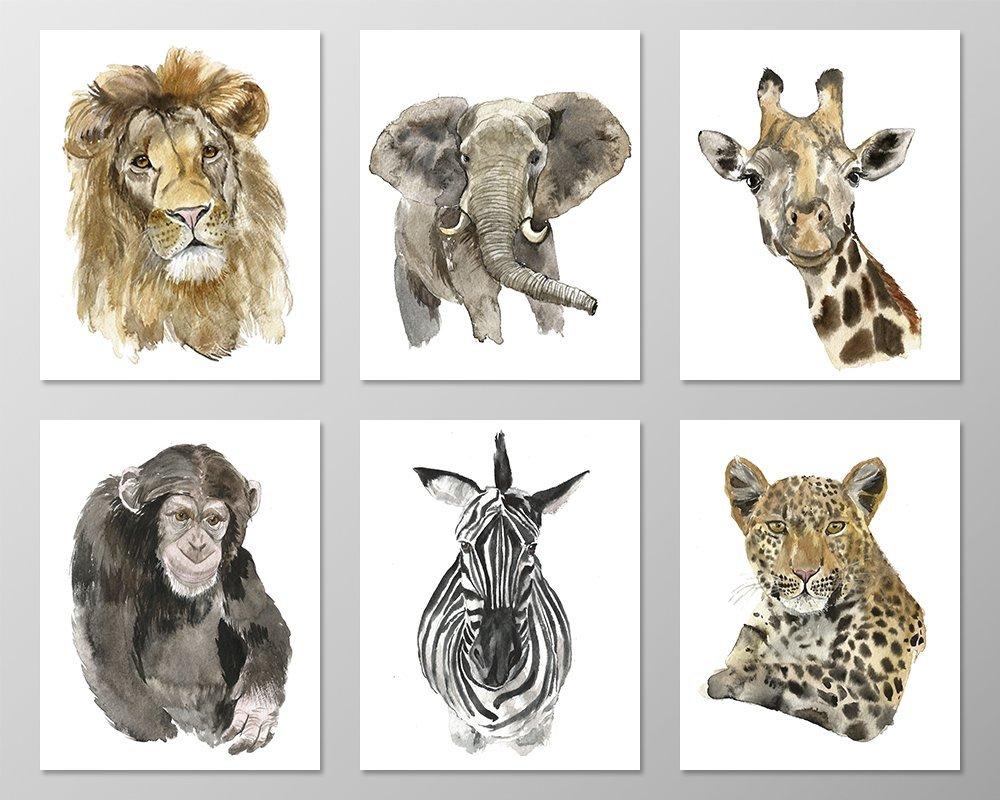 Wildlife wall art #A069 - Set of 6 Animal art prints (8x10). Savannah nursery.Savannah animals.Wildlife prints.Wildlife art prints.Safari animals.Jungle animal pictures.Jungle animals nursery.