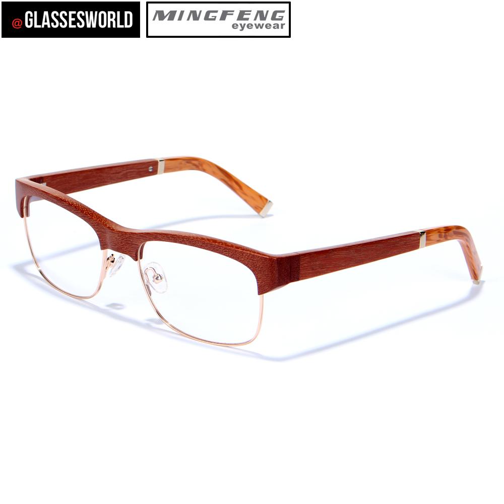 Wood Frame Glasses Fashionable Wood & Metal Mix Optical Frames Fw957 ...