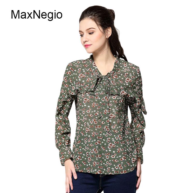 Maxnegio Последняя новая модель футболки Элегантная дама шифоновая блузка с  цветочным принтом Волан с длинным рукавом 989da5955454a