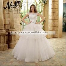 Cheap Indian Alibaba White Ball Gown Bridal gown Dress of Bride Prom Crew Puffy Floor Length Wedding dresses