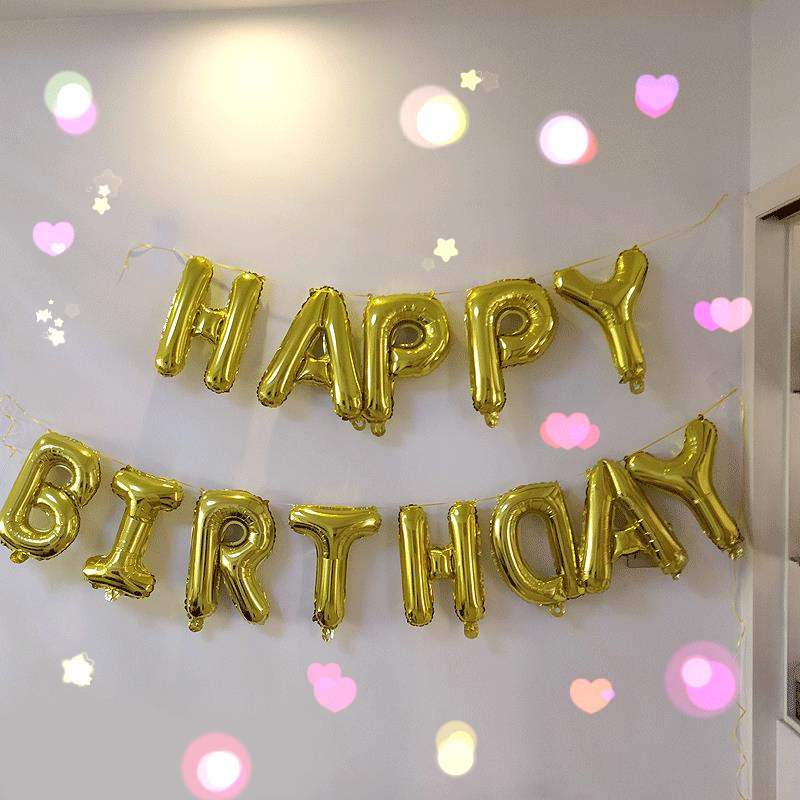 Chian wholesales gold silver letter foil balloon happy birthday foil balloons