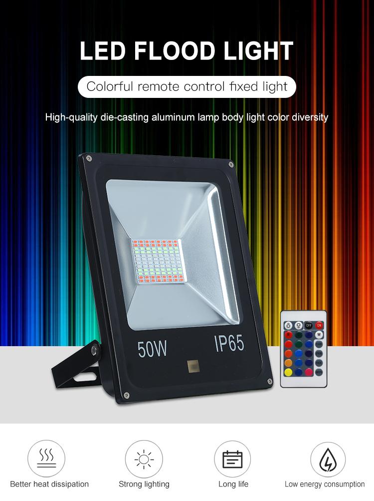 Venta directa de fábrica de IP65 impermeable al aire libre de 10w 20w 30w 50w RGB llevó la luz de inundación